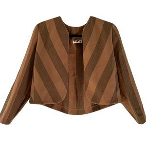 70s Womens Brown Striped Jacket M